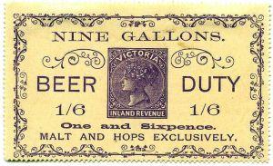 Znak akcyzowy z australijskich kegów z piwem z 1892 roku (plik w domenie publicznej)